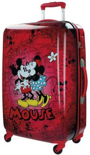 Cestovný kufor ABS Mickey a Minnie Retro Red 67 cm